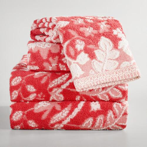 Coral Sophia Sculpted Towel Collection