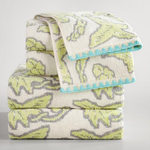 Brigitte Ivory and Green Bird Jacquard Towel Collection