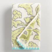 Brigitte Ivory and Green Bird Jacquard Hand Towel