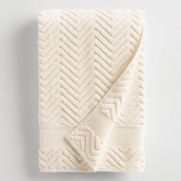 Ivory Chevron Spa Bath Towel
