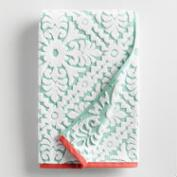 Aqua and Coral Barcelona Tile Sculpted Bath Towel
