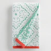Aqua and Coral Barcelona Tile Sculpted Hand Towel