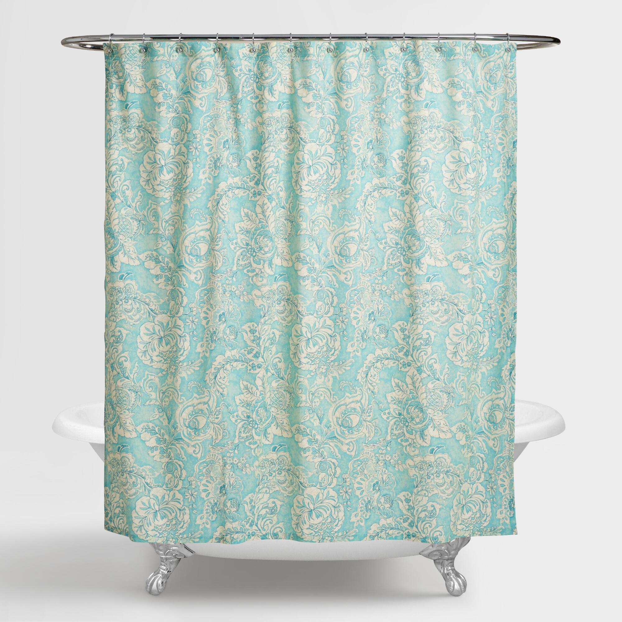 Buy giverny floral plisse fabric shower curtain liner and for Best place to buy fabric for curtains