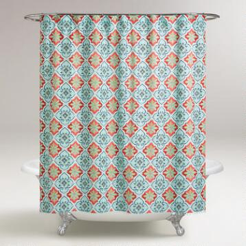 Aqua and Coral Windward Tile Shower Curtain