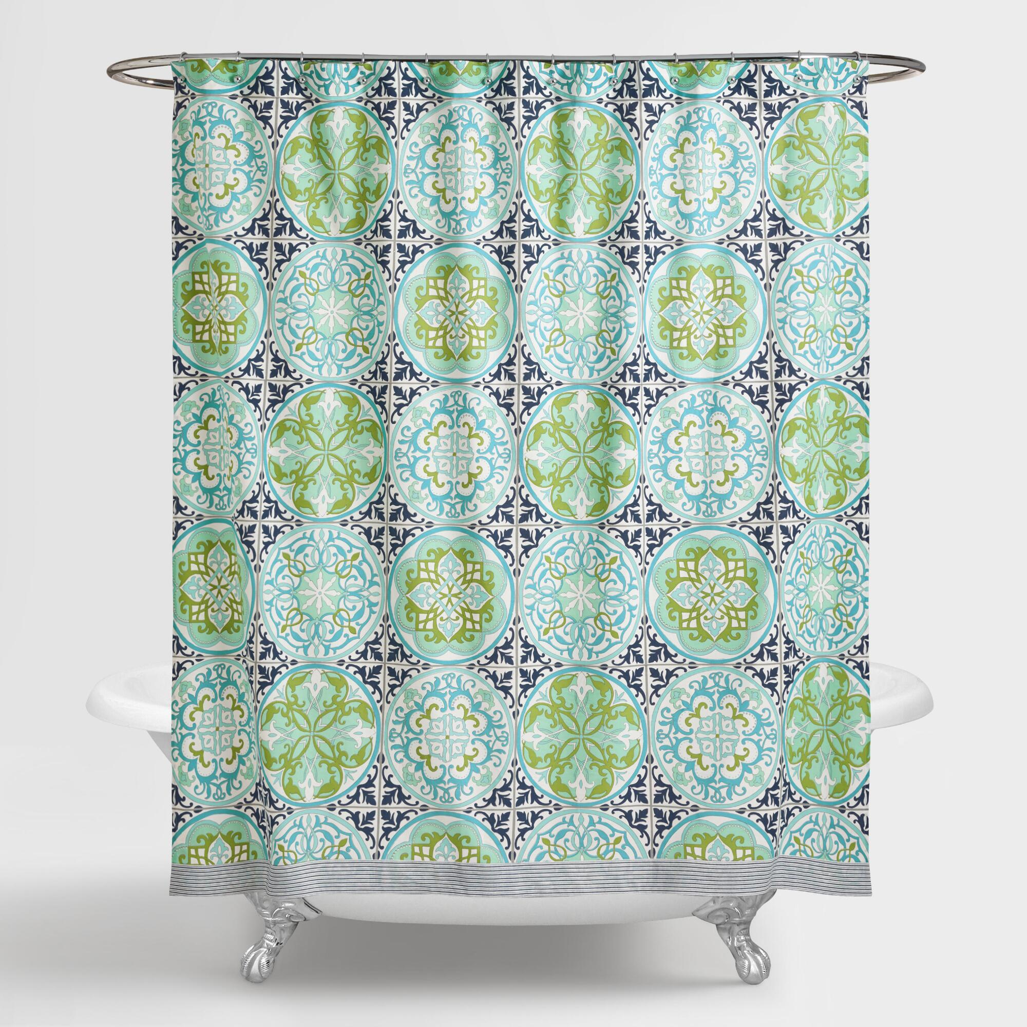 blue and green gabriella shower curtain world market. Black Bedroom Furniture Sets. Home Design Ideas