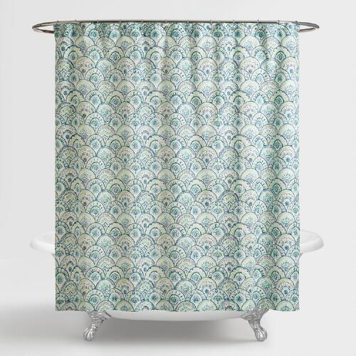 Olivia Blue Scalloped Shower Curtain