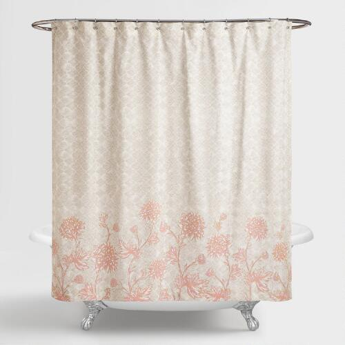 Gray and Blush Floral Fiona Shower Curtain