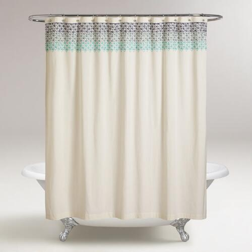 Blue Ombre Embroidered Namita Shower Curtain