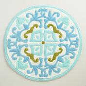 Blue and Green Round Gabriella Bath Mat