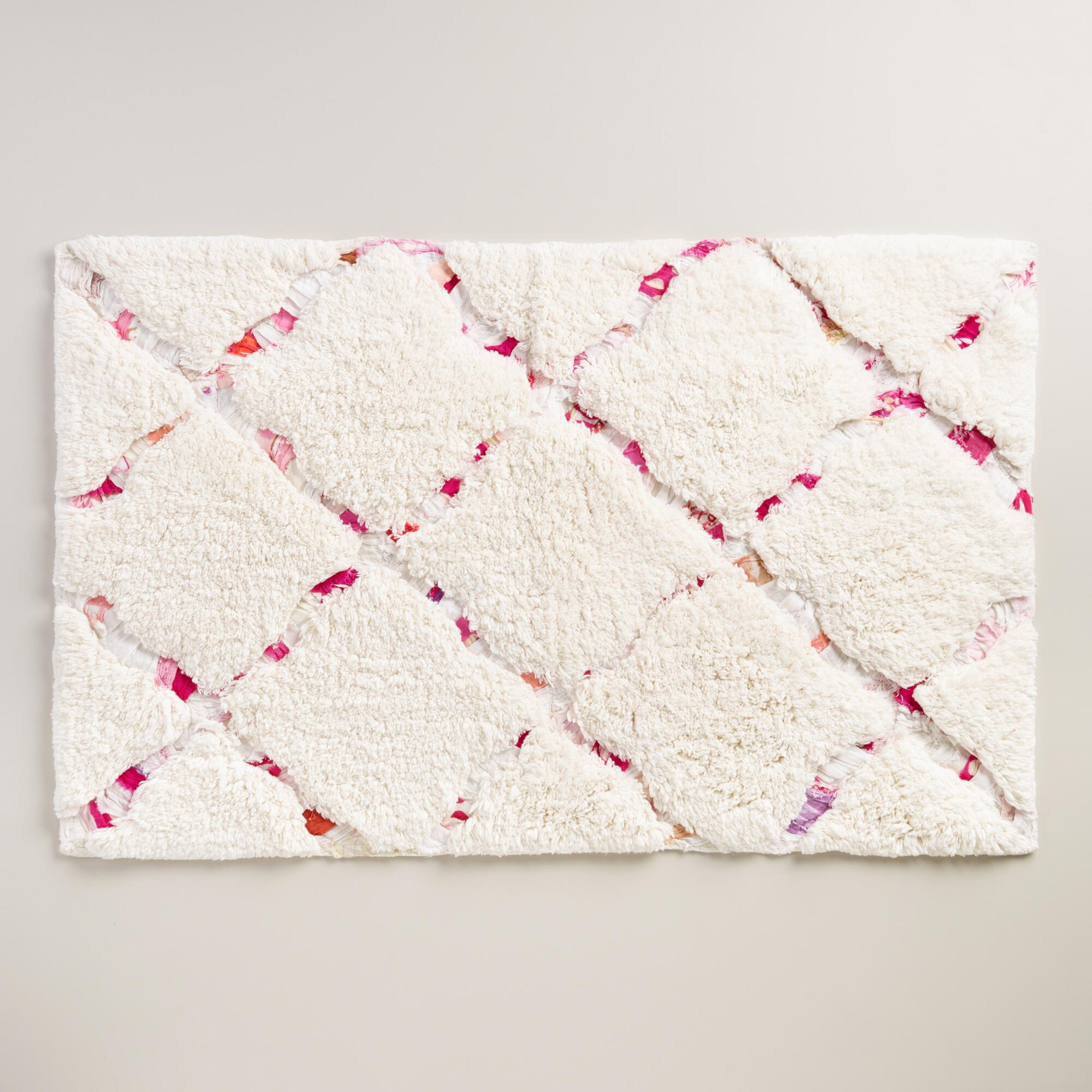 Ivory And Pink Multicolored Trellis Bath Mat World Market