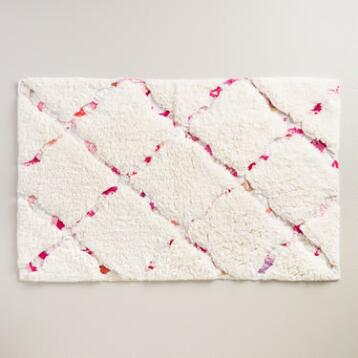 Ivory and Pink Multicolored Trellis Bath Mat