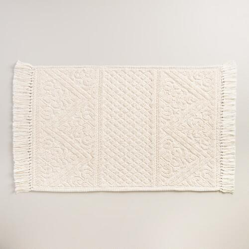Ivory Camilla Woven Bath Mat with Tassels