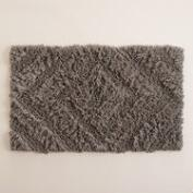 Gray Hi Low Diamond Shag Bath Mat