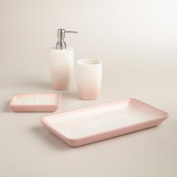 Blush Ombre Ceramic Bath Accessories