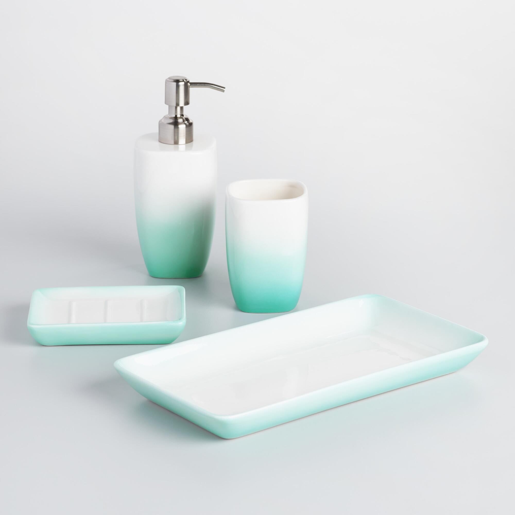 Aqua ombre ceramic bath accessories collection world market for Bathroom accessories glass