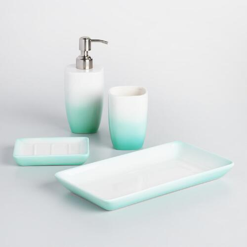 Aqua ombre ceramic bath accessories collection world market for Aqua bathroom accessories sets