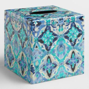Blue Ikat Tissue Cover
