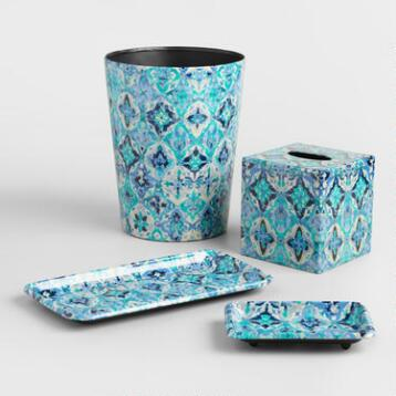 Blue Ikat Bath Accessories Collection