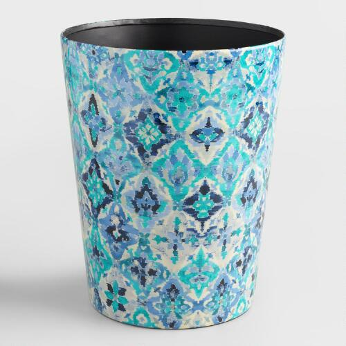 Blue Ikat Trash Can