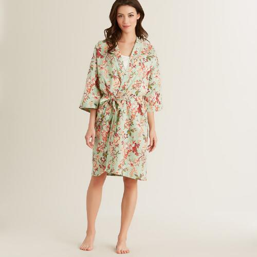 Mint Grace Floral Robe