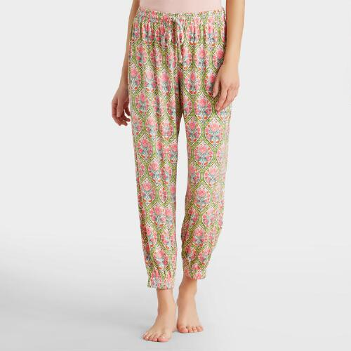 Pink and Green Ogee Gisele Pajama Pants
