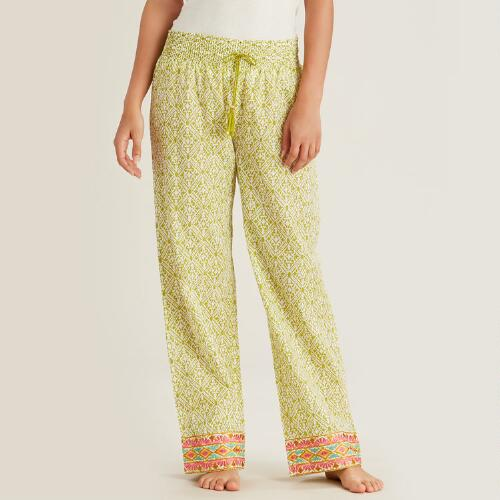 Green Diamond Embroidered Nitika Pajama Pants