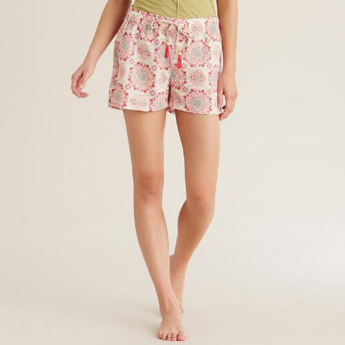Pink Medallion Julianna Pajama Shorts