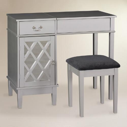 Silver Wood Arlene Vanity Set