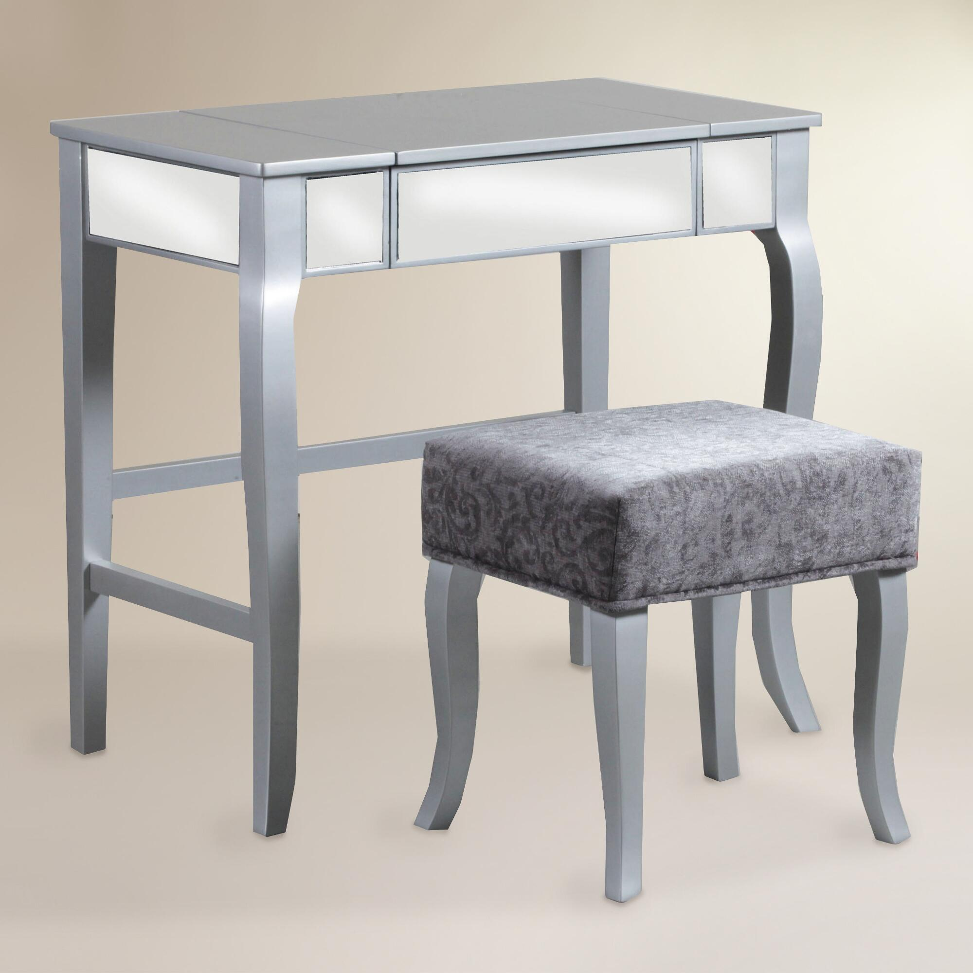 Silver wood zora vanity set world market for Silver vanity table