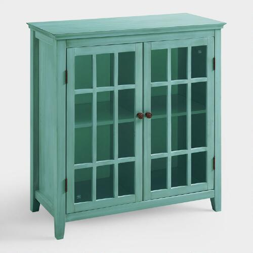 Antique Turquoise Double Door Storage Cabinet