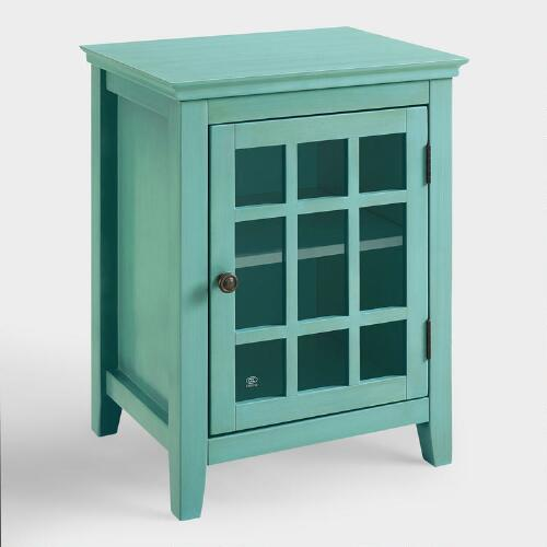 Antique Turquoise Single Door Storage Cabinet
