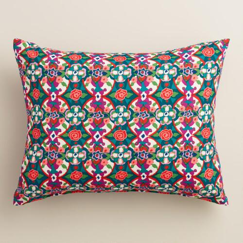 Watercolor Geo Tile Outdoor Lumbar Pillow