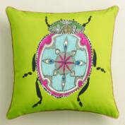 Green Beetle Outdoor Throw Pillow