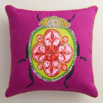 Pink Beetle Outdoor Throw Pillow