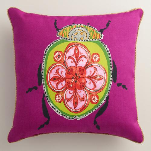 Hot Pink Outdoor Throw Pillows : Pink Beetle Outdoor Throw Pillow World Market