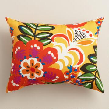 Caribbean Floral Outdoor Lumbar Pillow