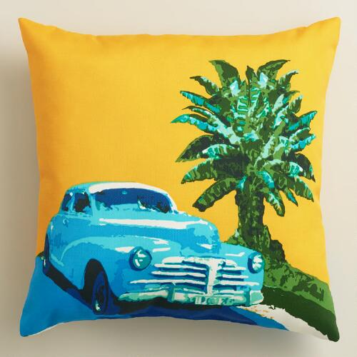 Cuban Car Outdoor Throw Pillow