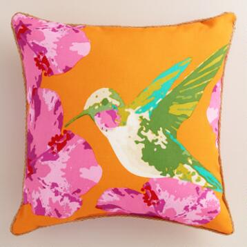 Hummingbird Outdoor Throw Pillow
