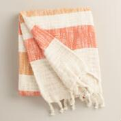 Orange Stripe Cotton Outdoor Throw