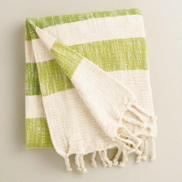 Green Stripe Cotton Outdoor Throw