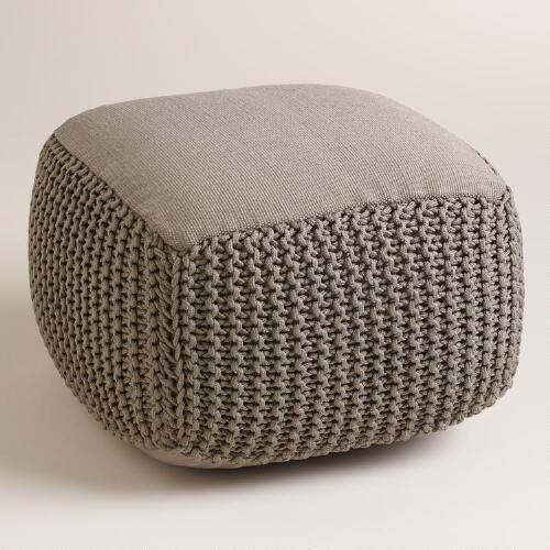 Oversized Gray Outdoor Pouf