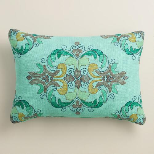 Blue Cruz Embroidered Outdoor Lumbar Pillow
