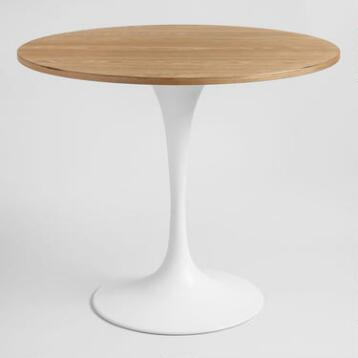 Wood and White Metal Leilani Tulip Dining Table