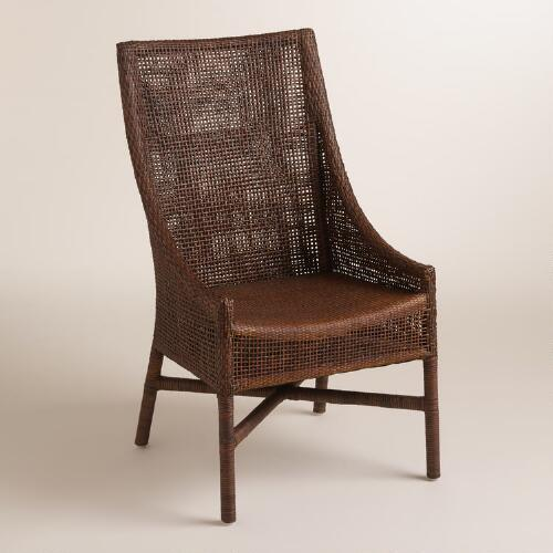 Brown Woven Rattan Carson Chairs Set of 2