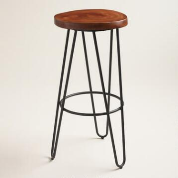 Wood and Black Metal Malvan Hairpin Barstool