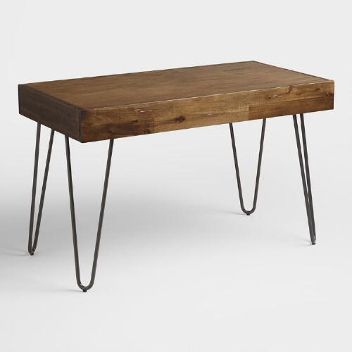 Wood and black metal flynn hairpin desk world market for Metal desk with wood top