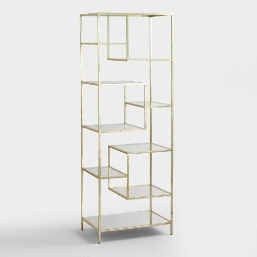 Burnished Metal and Glass Asymmetrical Kali Shelf