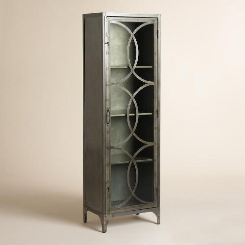 Metal and Glass Half Circle Eriksen Curio Cabinet
