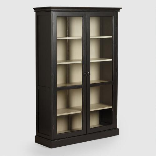 Large Black Rubbed Hamilton Curio Cabinet
