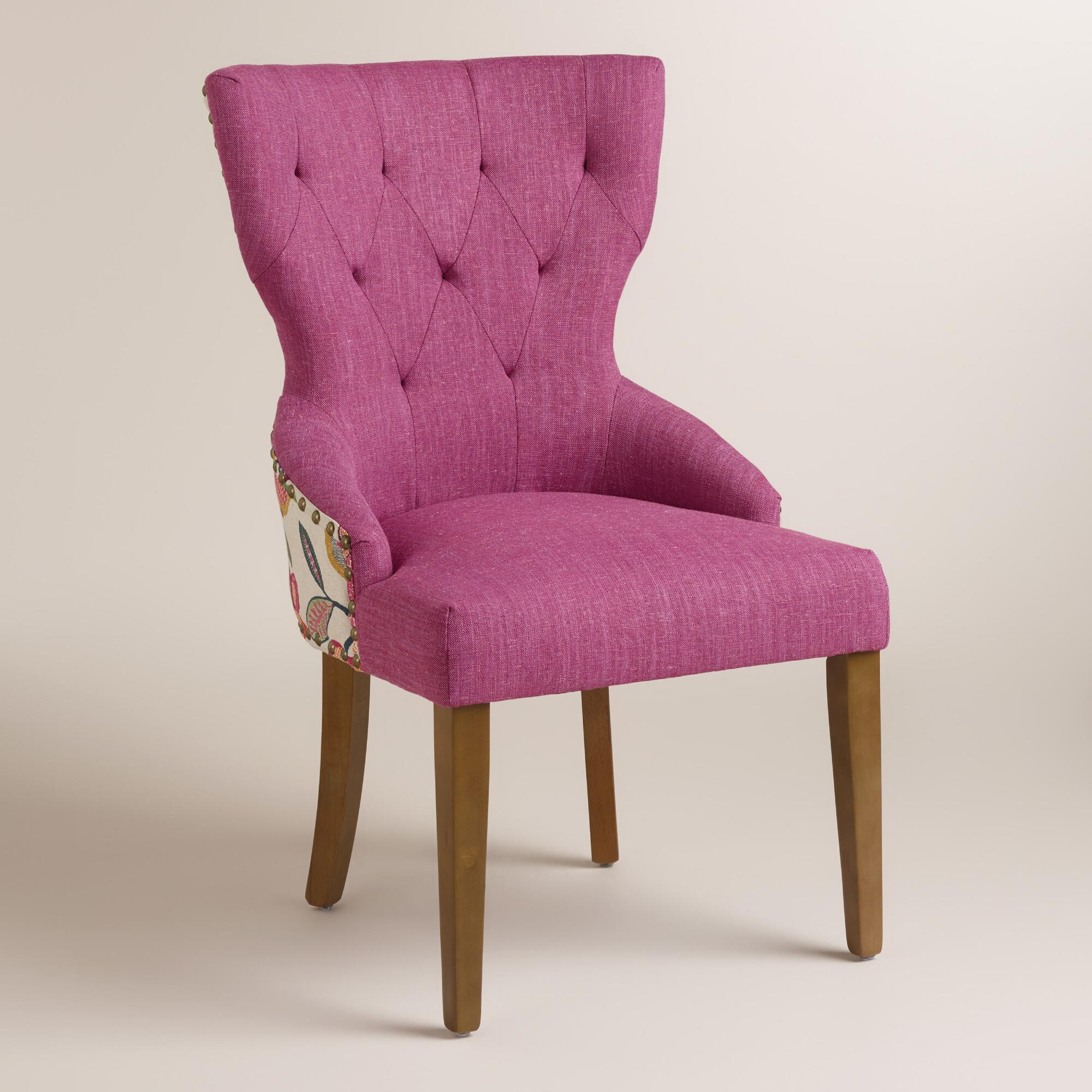 Timeless Grace Floral and Pink Linen Maxine Dining Chair ...